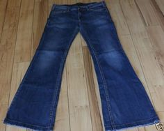 SILVER-PICA-Jeans-33x35-Blue-Stretch-Denim-Womens-Flares-Bell-Bottoms-Low-Rise