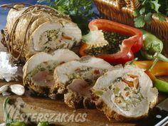 Göngyölt sertéssült Sushi, Ale, Shrimp, Meat, Ethnic Recipes, Food, Red Peppers, Ale Beer, Essen