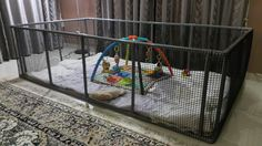 DIY Playpen  Made from pvc pipes and netting. Threw in some old comforters for comfort and toys for hours of fun filled play.  Inspired by a post my friend shared with me.