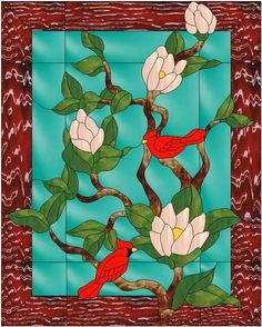 Stained Glass Flowers, Stained Glass Patterns, Glass Panels, Magnolia, Mosaic, Inspiration, Painting, Glasses, Sewing