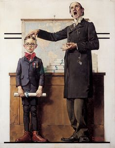 Graduation (Boy with a Teacher), THE SATURDAY EVENING POST, June 26, 1926 ~ The round glasses and parted hair of the boy in Graduation resemble caricatures Rockwell drew of himself as an adolescent. Rockwell had mixed feelings about formal education. He loved learning but never excelled at academics and left high school after two years to study art full time.