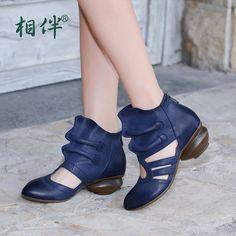 高帮女凉鞋手工原创复古真皮女鞋擦色做旧包头凉靴镂空罗马凉鞋潮