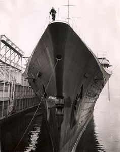 French Line NORMANDIE at New York under USCG protection, May 16, 1941 via Todd Neitring