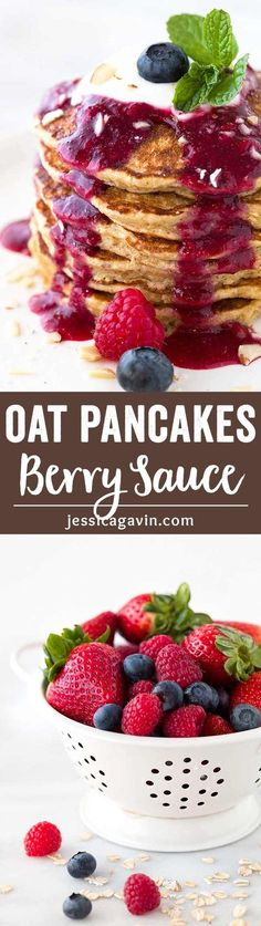 Healthy Oat Pancakes with Berry Sauce - Start your day with super easy breakfast recipe! Each pancake is packed with oatmeal, flaxseed, oat bran and Greek yogurt. via @foodiegavin