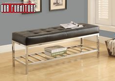 Hawthorne Ave Bench - / Black Leather-Look / Chrome Metal for sale online Comfortable Bench, Contemporary Bench, Metal Bench, Upholstered Seating, Leather Storage Bench, Furniture, Bench Cushions, Storage Bench, Furniture Warehouse