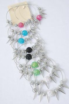 Spiked Hoop Earrings with Tiffany Beads