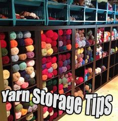 Yarn storage squee I need those shelves and the top baskets are awesome. i would do speciality yarn and ends in the top part!