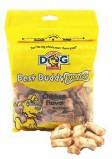 Dogs will love fetching Best Buddy Bones! A miniature bone-shaped cookie with texture that is not too hard or too soft. Great for training medium to large size dogs and a perfect size to serve as a treat. Miniature bone-shape with the great taste of chicken.