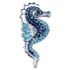 Pugster Blue Crystal Seahorse Brooches And Pins Pugster. $16.71. One free elegant cushioned Gift box available with every order from Pugster.. Exquisitely detailed designer style with Swarovski cystal element.. Money-back Satisfaction Guarantee.. Occasion: casual wear,anniversary, bridal, cocktail party, wedding. Can be pinned on your gown or fastened in your hair with bobby pins.