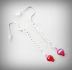 Red Heart Earrings, Chain Dangle Drop, Sweetheart Gift, Seed  Beads, Lovely Heart Bead Earrings, Silver Plated Ear Wires, Romantic Love Gift