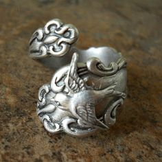 Bird Spoon Ring,The ORIGINAL Silver Spoon Ring with Swooping Sparrow,*** Exclusive Design Only by Enchanted Lockets by EnchantedLockets on Etsy https://www.etsy.com/listing/93144454/bird-spoon-ringthe-original-silver-spoon