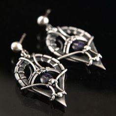 handmade pendant technique: wire-wrapping materials: silver, blaufluss by Bartosz Ciba custom-made