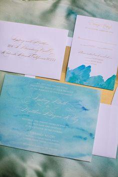 Watercolor Wedding Invitations - Prim & Pixie | On Style Me Pretty: www.StyleMePretty.com/2014/03/14/bohemian-coastal-wedding-at-terranea-resort/ Photography: Rebecca Fishman, Birds Of A Feather