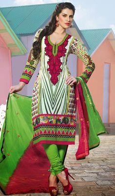 Multicolor Cotton Printed Churidar Dress Price: Usa Dollar $71, British UK Pound £42, Euro52, Canada CA$77 , Indian Rs3834.
