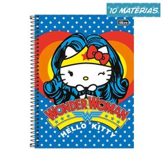 Eu recomendo Caderno Hello Kitty DC Comics Wonder Woman 10 Matérias via Myreks #WonderWoman #HelloKitty