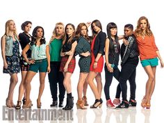 Anna Kendrick and the crew from Pitch Perfect Pitch Perfect 2, Pitch Perfect Outfits, Anna Camp, Brittany Snow, Anna Kendrick, Netflix, Teen Beach, Rebel Wilson, Emperors New Groove