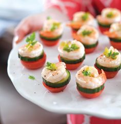 Serve these delectable shrimp and cucumber bites at your next soiree for a hint of elegance. Adapted from Entertain Decorate Celebrate magazine.