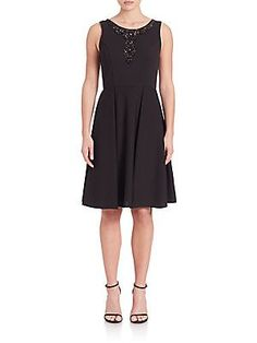 Sue Wong Sleeveless Beaded Fit & Flare Dress - Black - Size 2