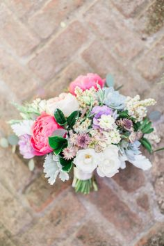 A pop of pink peonies: http://www.stylemepretty.com/texas-weddings/2015/06/22/colorful-wild-onion-ranch-summer-wedding/ | Photography: Mint Photography - http://mymintphotography.com/