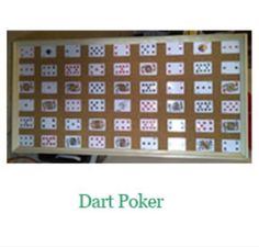 Dart Poker is a classic. A 3′x5′ cork board with 52 playing cards attached to it. Your guest gets 6 darts for $5. The object of the game is to make your best 5 card poker hand. The best 5 card hand at the end of the night wins a prize.
