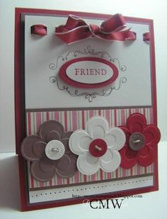 using Stampin Up Yummy retire Sale A Bration stamp set and Die Cut Blossoms embosslit