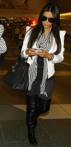 i loveeee kim's outfits like this! blazer, scarf, leggings/jeans and thigh highs <3