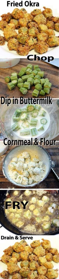 Fried Okra Recipe //other says: Yumm! In Oklahoma, we also add in chopped onions, tomatoes and potatoes. All covered in a crispy cornmeal coating. Okra Recipes, Vegetable Recipes, New Recipes, Vegetarian Recipes, Cooking Recipes, Healthy Recipes, Easy Recipes, Recipies, Vegetarian Appetizers
