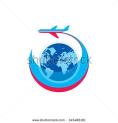 Airplane - vector logo sign concept illustration. Airplane silhouette, globe and stripes - vector illustration. Aircraft logo for transportation or travel company. Design elements.