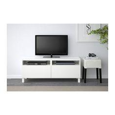 BESTÅ TV-Bank mit Schubladen - Lappviken weiß, Schubladenschiene, sanft schließend - IKEA