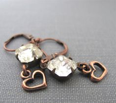 Rhinestone Earrings Clear Glass Copper Hearts Copper by fiveforty, $20.00