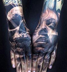 Skull & Portrait Hand Tattoos http://tattooideas247.com/skull-portrait/