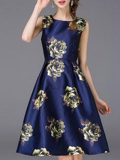 Vestido flores línea A -marino