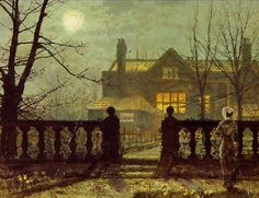 """Lady in a Garden by Moonlight"" by John Atkinson Grimshaw (1836 – 1893)"