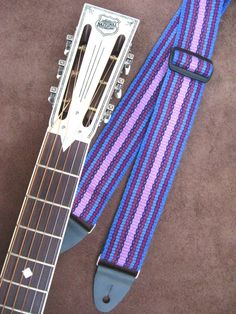 Guitar Strap, Handwoven , Comfortable Cotton, Soft, Blues and Purples