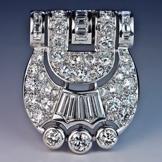 An Original Art Deco Diamond Clip / Brooch circa 1930 a handcrafted buckle-shaped platinum plaque with a white gold clip / pin back densely set with sp Bijoux Art Deco, Art Deco Jewelry, Fine Jewelry, Jewelry Ideas, Jewelry Armoire, Antique Jewelry, Vintage Jewelry, Silver Jewellery, Vintage Brooches