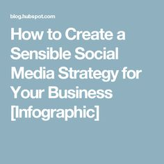 How to Create a Sensible Social Media Strategy for Your Business [Infographic]
