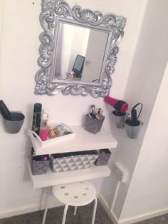 Ikea cutlery cups spray painted to hold hair tools DIY dressing table IKEA hack Floating shelf Grey&white Girls bedroom Furniture, Interior, Floating Shelves, Bedroom Diy, Home Decor, Diy Vanity, Bedroom Dressing Table, Ikea Girls Bedroom, Diy Dressing Tables