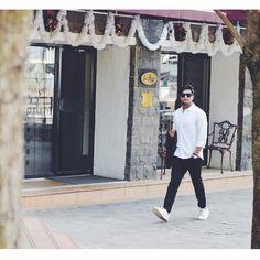 Slim fit dress white shirt UCB, H&M trouser, Mango Man white sneakers for Men's Fashion | Feat. Instagram @stylemattersbro