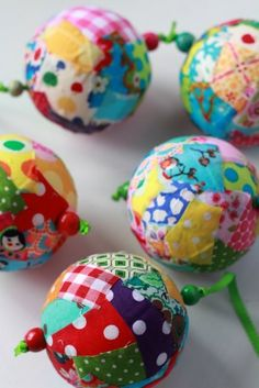Fabric Scrap Ball tutorial for kids (and adults). Great for the Christmas tree or to brighten up any room of your house all year round!