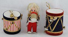 3 Rare 1950's Felt & Mercury Glass Christma Ornaments Drummer Boy & Drums Japan