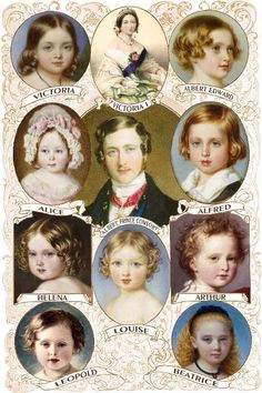 Victoria and Albert had 9 children ~ 1840 - Victoria Adelaide Mary (Princess Royal) 1841 - Albert Edward (future King Edward VII) Alice Maud Mary Alfred Ernest Albert 1846 - Helena Augusta Victoria 1848 - Louise Caroline Alberta 1850 - Arthur Queen Victoria Children, Queen Victoria Prince Albert, Princess Victoria, Victoria Queen Of England, Queen Victoria Family Tree, England Queen, European History, British History, Asian History