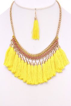 Yellow/Gold Bohemian Necklace