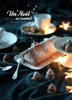 Chalet glacé de #Noël Vanille - Caramel beurre salé #MaTableAuSommet #Bûche #Picard #Tabledefêtes Christmas Cookies, Christmas Time, Cake Photography, Xmas Party, Plated Desserts, Food Plating, Holidays And Events, Cake Designs, Caramel