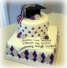 Nice touch - Purple and Silver Graduation Cake - Fondant - with purple and silver diamonds -- quilted top -- Edible image banner and Gumpast cap -- tassles are made with fondant Graduation Cake Designs, Graduation Decorations, Graduation Ideas, Graduation 2015, Graduation Theme, Graduation Cupcakes, Beautiful Cakes, Amazing Cakes, Fondant Cakes