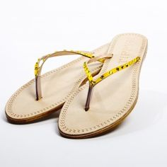 Yellow Swarovski Thong Sandals - just one of several great beach packing list necessities from @The Travelers Collection
