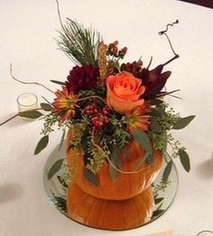 fall centerpieces arrangements | just love this little petite autumn centerpiece