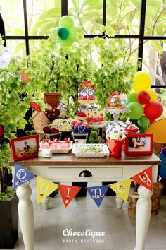Dessert table at a Snow White Themed 1st Birthday Party with Lots of Cute Ideas via Kara's Party Ideas KarasPartyIdeas.com #SnowWhiteParty #PartyIDeas #snowwhitepartytable #snowwhitepartysupplies