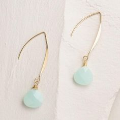 Gold and Mint Linear Drop Earrings | World Market