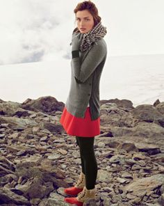 obsessed with this image from the j. crew december lookbook, especially with those coral sperry snowboots