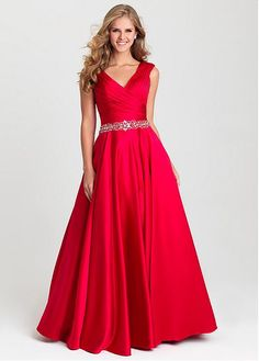 Buy discount Amazing Satin V-neck Neckline Full-length A-line Prom Dresses With Beadings at Dressilyme.com